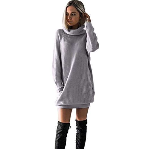OVERDOSE Damen Strickkleid Roll Neck Jumper Kleid Damen Lang Shirt Lange Ärmel Bluse Mini Dress (A-Gray,38 DE/M CN)