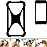 K-S-Trade® Handyhülle Für Cyrus CS 40 Schutz Hülle Silikon Bumper Cover Case Silikoncase TPU Softcase Schutzhülle Smartphone Stoßschutz, Schwarz (1x),
