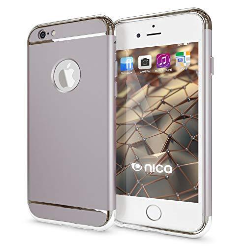 NALIA Custodia compatibile con iPhone 6 6S, Copertura Protezione Rigida Ultra-Slim Hard-Case Phone Cover Tre Parti Cellulare, Protettiva Sottile Bumper Telefono Guscio - Argento