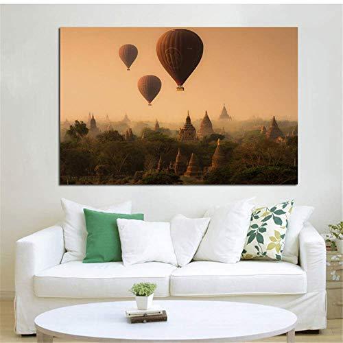 Crazystore Arte de la Lona Pintura 50x70cm sin Marco Myanmar Bagan Antigua Capital pagodas templos Cielo Globos increíble Paisaje hogar Pared Arte Moderno decoración