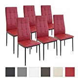 Albatros Silla Rimini, Set de 6 sillas, Rojo, certificada por la SGS, Silla de Comedor