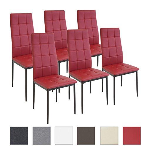 Albatros International GmbH Esszimmerstühle Rimini, 6-er Set Rot, SGS gestestet