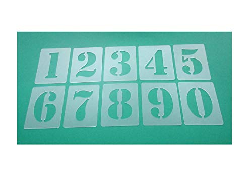 Zahlenschablone Nr.05 | Zahlenhöhe 5cm | 1 Satz Zahlen 0-9 | 10 einzelne Schablonen | Malerschablone | Wandschablone