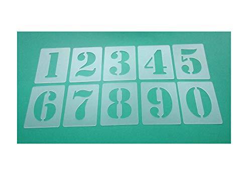 Números de plantillas Juego de 000505, números 0–9/5cm alto, 10individuales Plantillas