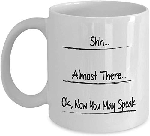 Smbada Jetzt können Sie sprechen, Shhh Becher, Shh Fast, sprechen Nicht Becher, lustige Kaffeetasse, Kaffee-Süchtiger, lustiges Geschenk für Vati, Geschenke für Männer, füllen Linie Becher