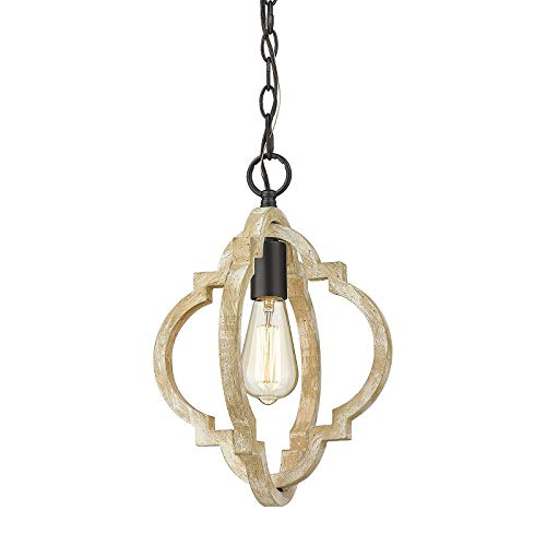 Farmhouse Wood Pendant Light, CALDION Kitchen Chandelier with Wood and Metal, 1-Light Ceiling Hanging Light Fixture for Dining Room Living Room, 6808PL-GW