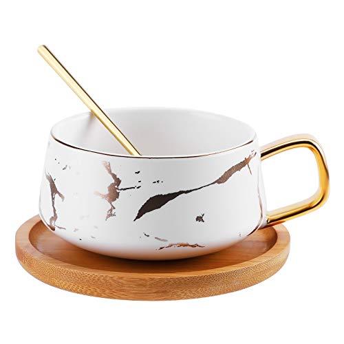 Porzellan Teetasse, Richaa Kaffeetasse Set mit Löffel und hölzerner Untertasse für Frau Mann Geburtstag Valentinstag Muttertag Hochzeitstag (Weiß)