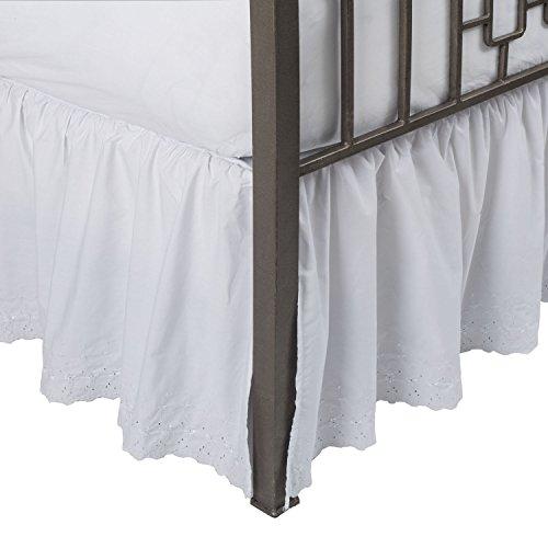 ShopBedding Eyelet Ruffled Split Corner Bed Skirt, Full, 21' Drop, White