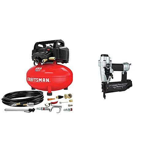 CRAFTSMAN Air Compressor & Metabo HPT Brad Nailer, Pneumatic, 18 Gauge, 5/8-Inch up to 2-Inch Brad Nails, Tool-less Depth Adjustment, Selective Actuation Switch, 5-Year Warranty (NT50AE2)