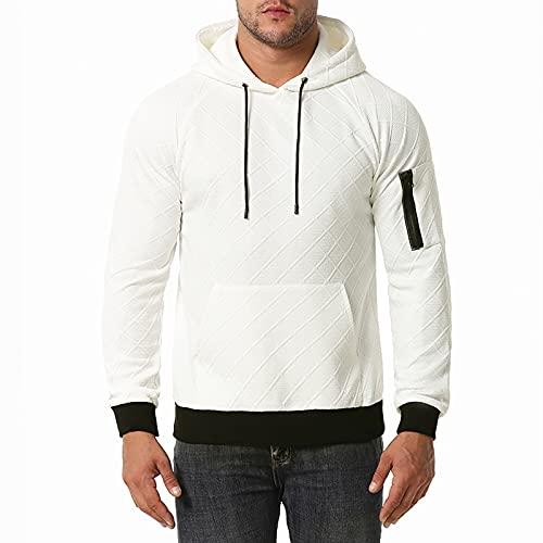BGUK Sudadera con capucha para hombre, de manga larga, informal, de un solo color, deportiva, para otoo e invierno, Blanco, XL