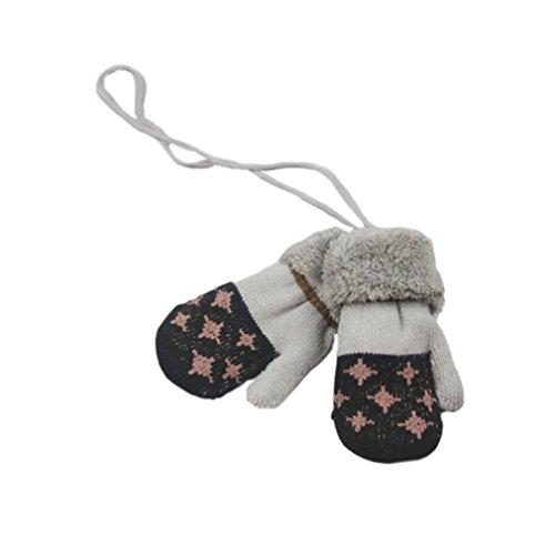 SAMGU Gants de Bébé Hiver Moufles Enfant Chaude Full Fingers Boy Girl Mitaines Coton Tricot Gants avec la Corde Tour du Cou Cadeau Noël
