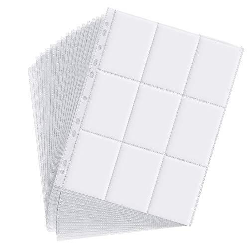 Jusduit 450 Taschen Sammelkarten Folien, Pockets Sammelkarten 50 Seiten Pro 9-Pocket Leere Sammelalbum, Sammelkartenmappe Sammelheft Neutrale Sammelhüllen für eine Vielzahl von Ringbücher