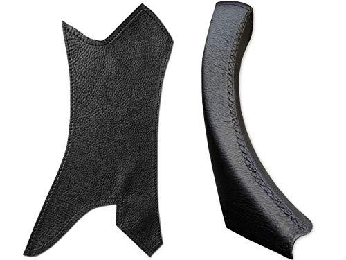 Leather Steering Compatible con BMW Serie 3 E90 E91 Cubierta de Cuero para manija de Puerta - Cubierta Negra para manija de Puerta para Puerta Derecha - Fácil instalación de Bricolaje