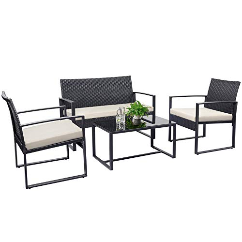 Tuoze 4 Pieces Patio Furniture Set Outdoor Patio Conversation Sets Modern Porch Furniture Lawn Chairs with Glass Coffee Table for Home Garden Backyard Balcony (White)