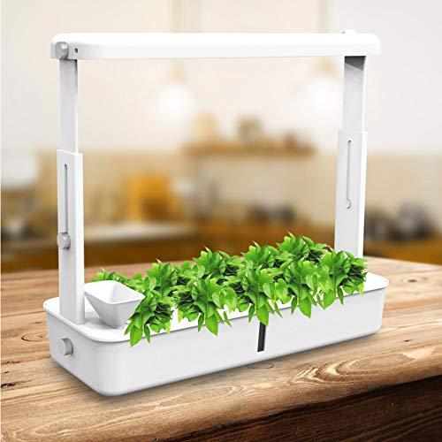 @tec Mini Pflanzenaufzuchtstation Gewächsstation Zimmer-Gewächshaus Anzuchtkasten Frühbeet Treibhaus mit 40 LED´s Beleuchtung und Bewässerung ca. 48x18cm incl. Pflanz- Anzuchttöpfe für 10 Setzlinge