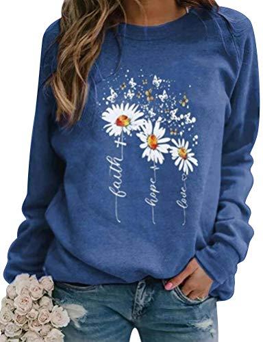 Dresswel Damen Faith Hope Love Sweatshirt Pullover Gänseblümchen Schmetterling Druck Langarmshirt Pulli Bluse Shirts