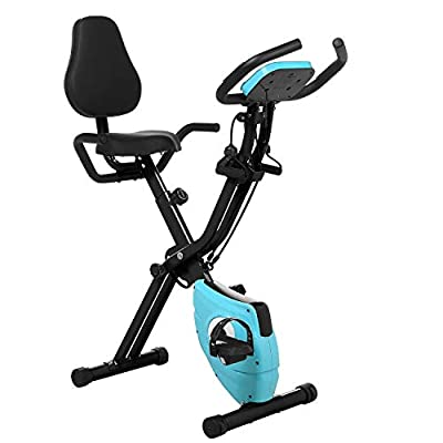 ANCHEER 3-in-1 Folding Exercise Bike with Backrest, Magnetic Indoor Cycling Bike with App Connection, Arm Resistance Bands,LCD Display and Heart Monitor - Perfect Home Exercise Device for Cardio