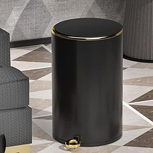 GYCC Cubo de cosméticos, Bote de Basura, Cubo de Pedal, Bote de Basura - 8 litros - con contenedor Interior extraíble(Color:Black Gold,Size:12L)