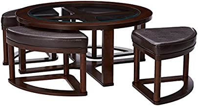 Signature Design by Ashley - Marion Coffee Table Set w/ 4 Upholstered Stools, Dark Brown with Glass Top