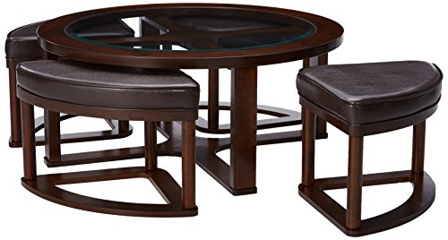 Signature Design by Ashley - Marion Glass Top Coffee Table Set w/ 4 Upholstered Stools, Dark Brown
