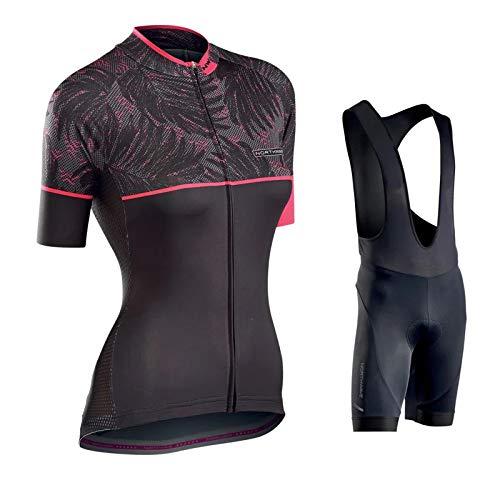Hplights Ensemble Maillot de Cyclisme Set pour Femme Ladies Vélo VTT VTC Manches Courtes + Pantalons avec Coussin d'assise 9D,C,L