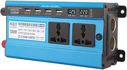 Inversor de alimentación 1200W 12V / 24V a 110V / 220V, inversor de carro de onda sinusoidal modificado, convertidor de CA a CA con enchufes DUAL 110/220 voltios CA y 4 puertos USB con LED para dispos