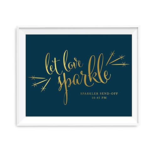 Andaz Press Wedding Party Signs, Navy Blue with Metallic Gold Ink, 8.5x11-inch, Please Take A Tissue for Your Tears of Joy, Laughter and Happily Ever After, 1-Pack