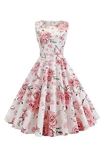 MisShow Damen Abendkleid Rockabilly Kleid Ärmellos Vintage Kleid Tanzkleid Pinup Kleid Rosa L