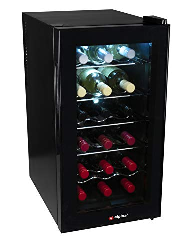 alpina 8711252185125 - Frigorifero per bevande e vino, 60 Watt, 50 litri, 18 bottiglie, in metallo, 50 litri