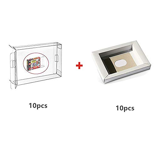 WiCareYo 10Pcs Schutzhülle Karton-Wiedereinbau inneres Einlegeeinsatz Behälter für PAL u. NTSC Super SNES CIB Spiel-Patrone & 10PCS Clear Box Hülse für SNES N64 Spiele Cartridge Box