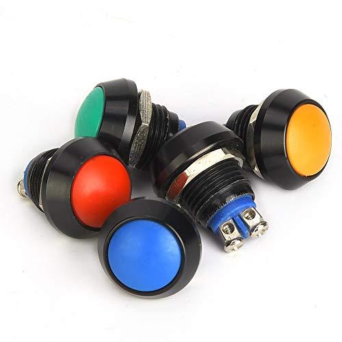 Interruptor de botón seguro, resistente al agua, color negro, nivel de protección de botón  10.000 ciclos, material de calidad de vida útil con metal