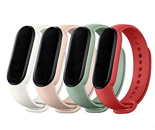 MAKACTUA Armband Kompatible für Xiaomi Mi Band 5 Damen Herren, Silikon Ersatz Fitness Armband und Uhrenarmband Sportarmband und Fitnessband Wristband Armbänder für Xiaomi Mi Band 5