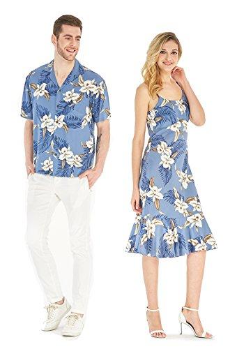 Hecho en Hawaii Premium Couple Matching Luau Aloha Camisa de Vestir Rosa Floral con Flores Naranjas 2XL-XL