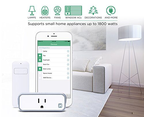 iHome iSP8 Wi-FI SmartPlug, Use your voice to control connected devices, handheld remote included, Works with Alexa, Google Assistant and HomeKit enabled smart speakers