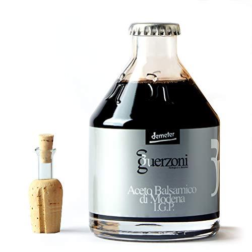 Aceto Balsamico di Modena igp GUERZONI - Serie Bio Argento – Mediamente Denso - Biologico, Biodinamico (Demeter), Vegano, Vegetariano, senza OGM – Acidità 6% - 1 Bottiglia da 250 ml Incluso Tappo Dosatore