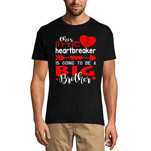 Ultrabasic Camiseta para hombre con diseño gráfico «This Little Heartbreaker Going to Be a Big Brother» - negro - 3X-Large