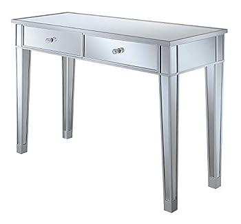 Convenience Concepts Gold Coast Mirrored Desk Silver / Mirror