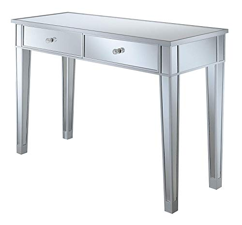 Convenience Concepts Gold Coast Mirrored Desk, Silver / Mirror
