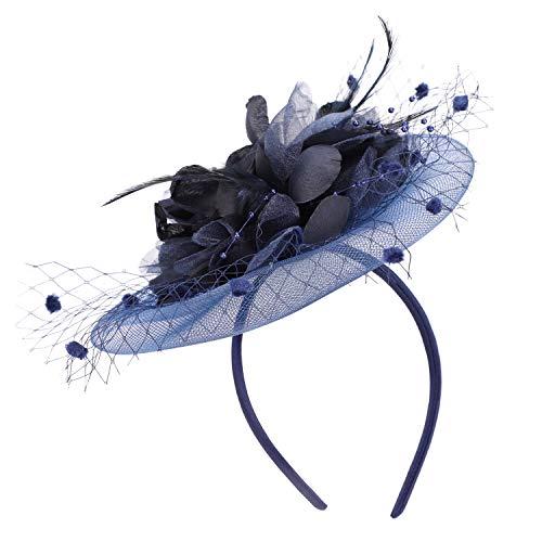 IBLUELOVER Sombrero Bibis Boda Mujer Peinado Novia Fascinator Horquilla Elegante Malla Velo Diadema para cóctel Derby Ceremonia de boda Iglesias Fotógrafo Fiesta Fiesta Traje Navidad (Azul marino)