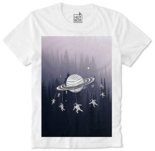 T Shirt Hotbox Astronaut Spaxe Galaxy Universe Saturn Rings Hipster Dope Trippy NASA XL