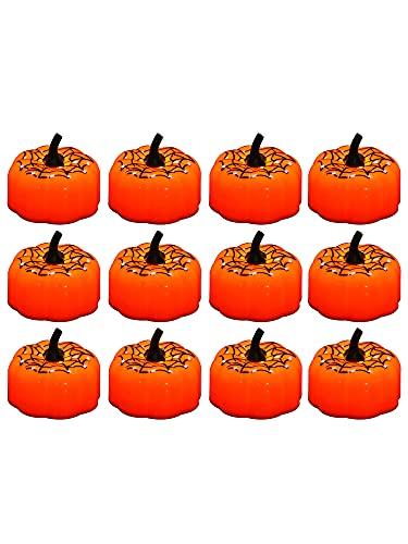 Lazyspace 12 velas de calabaza, velas sin llama, Halloween 3D, faroles de color naranja, decoración para decoraciones de Halloween