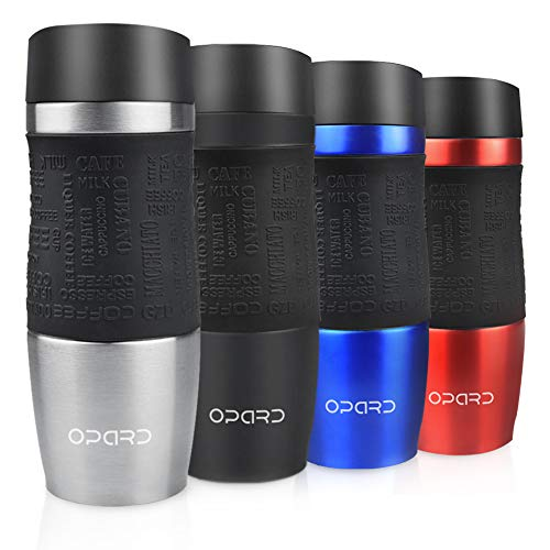 Opard Thermobecher 350ml- Travel Mug- Kaffeebecher to go Thermo- Edelstahl Trinkbecher- Coffee to go Becher- auslaufsicher Autobecher für Heiße und Kalte