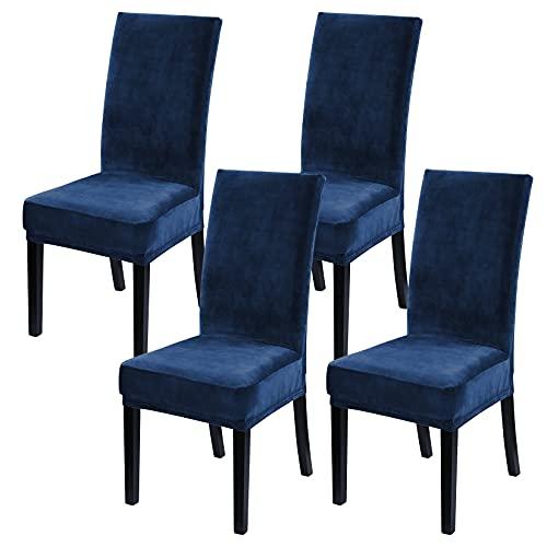 LinTimes Samt Esszimmerstuhlbezüge Stretch Stuhlbezüge für Esszimmer Samt Stuhlschutzbezüge Schonbezug für Hotelzeremonie, Dicker, weicher, moderner Stil, 4er-Set Peacock Navy blau