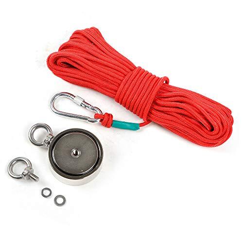 Magnetfischen Set, 240kg Doppelseitig Ösenmagnet Mit Seil 20M Carabiner Neodymium Topfmagnet Magnetangel zum Magnet Fischen Ø60mm