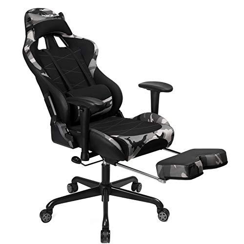 SONGMICS Gaming Stuhl mit Fußstütze, 150 kg, Bürostuhl, Schreibtischstuhl, Lendenkissen, Kopfkissen, hohe Rückenlehne, ergonomisch, Stahl, PU, atmungsaktives Meshgewebe, schwarz-Tarnfarben RCG52GYV1