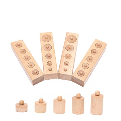 Pixnor - Juguete educativo de madera Montessori con cilindro para iniciación de desarrollo