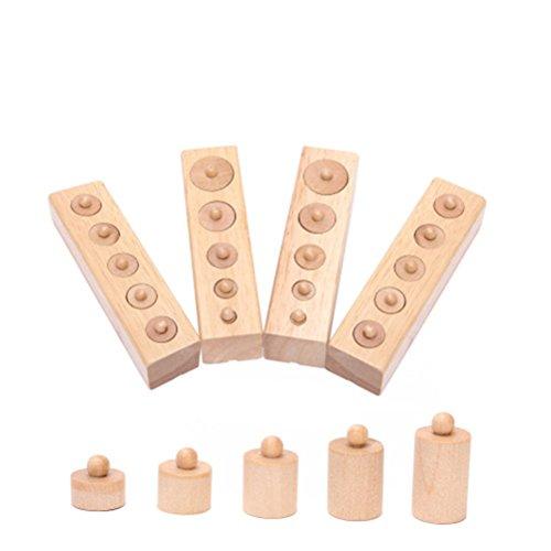 ROSENICE Giocattolo di legno Montessori cilindro presa precoce sviluppo sensi regalo (colore di legno)