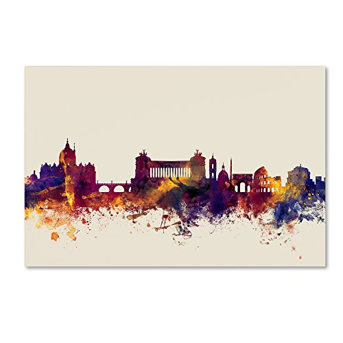 Rome Italy Skyline by Michael Tompsett, 30x47-Inch Canvas Wall Art