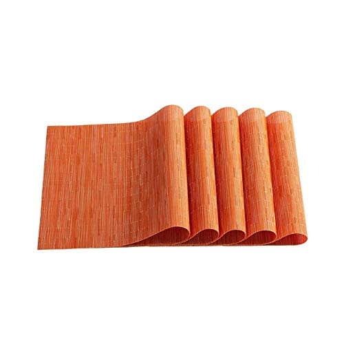 Elegantes manteles individuales de bambú trenzado a prueba de manchas para hotel, hogar, cocina, comedor, naranja, 6 unidades, 6 unidades