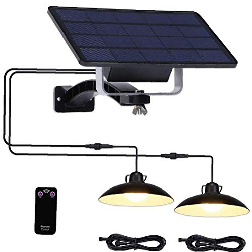 Solar Shed Lights Waterproof Split Courtyard Lamp with Remoted Control for Garage Garden Yard Patio Black Warm Light Bright Outdoor lightingBright Outdoor Lighting